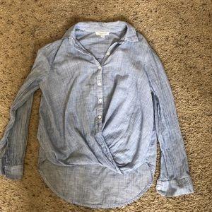 Lightweight cotton shirt pinstriped blue & white